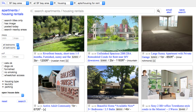 The front page of Craigslist for apartments in San Francisco.