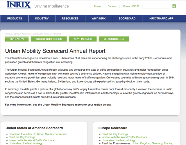 Inrix screenshot as of September 2, 2015.