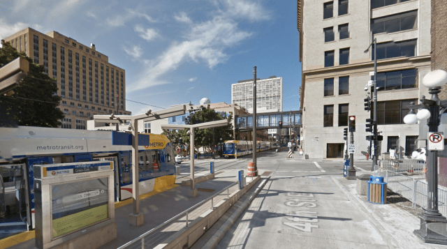 The terminus of the Green Line light rail in downtown St. Paul. Credit: Google Maps