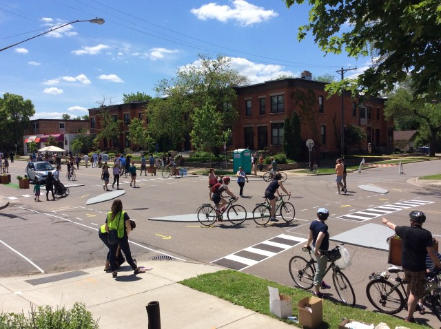 Pop-up protected bike lane, Minneapolis. Credit: nickfalbo, Flickr