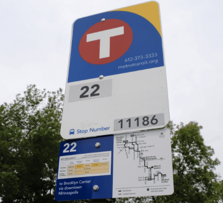 A new static, high-information bus sign in the Twin Cities. Credit: Metro Transit