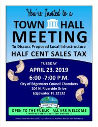 meeting town hall sales tax invitation local cent invite half infrastructure flyer edgewater