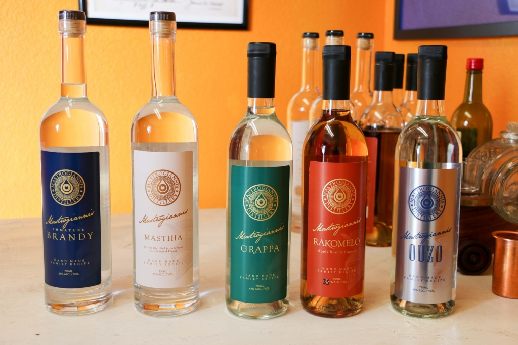 The five liquors produced by Mastrogiannis Distillery in Lakewood.