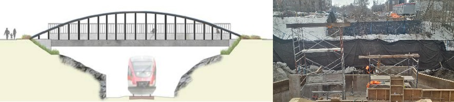 Proposed bridge image and photo of construction