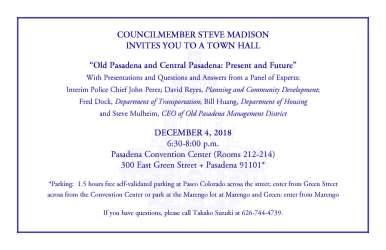 meeting town hall announcements november