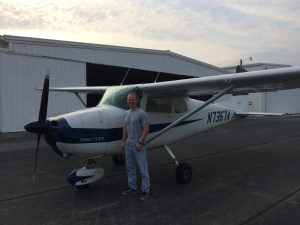 a man and his Cessna 172 GTO who landed at Portland Airport