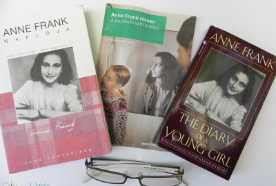 Anne Frank's diary in Hungarian & English with a pamflet from the House in Amsterdam