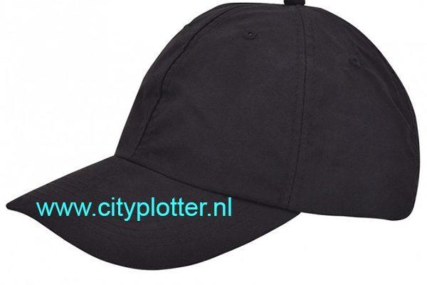 Pet zwart cap black om te bedrukken jockey caps elastische sluiting Cityplotter Zaandam
