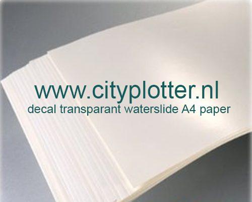 Decal transparant waterslide A4 paper voor de inktjet printer Cityplotter Zaandam