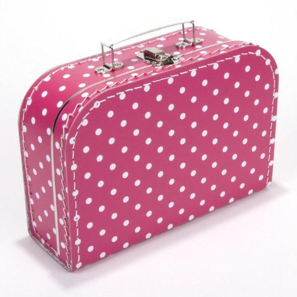 Kinderkoffertje Geboortekoffertje koffer logeerkoffer Fuchsia met Stippen Cityplotter Zaandam