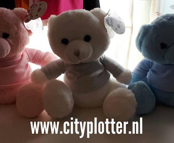 knuffelberen 3 stuks met shirtjes cityplotter zaandam