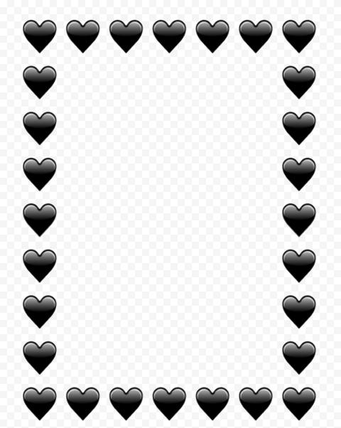 Black Hearts Png : black, hearts, Black, Hearts, Emoji, Vertical, Frame, Citypng