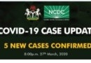 Five new cases of Coronavirus have been recorded in Nigeria
