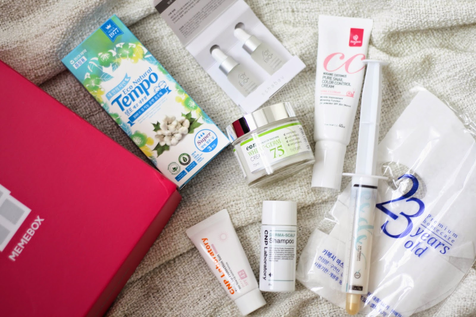 Memebox: a pack of tampons & mouldy soya beans