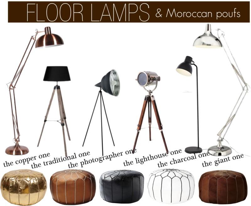 Floor lamps & Moroccan poufs