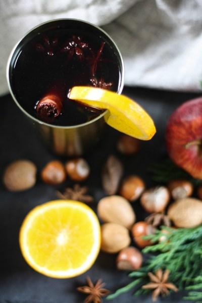 Mulled wine with orange & honey