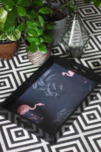 DIY Wallpaper Flamingo Tray