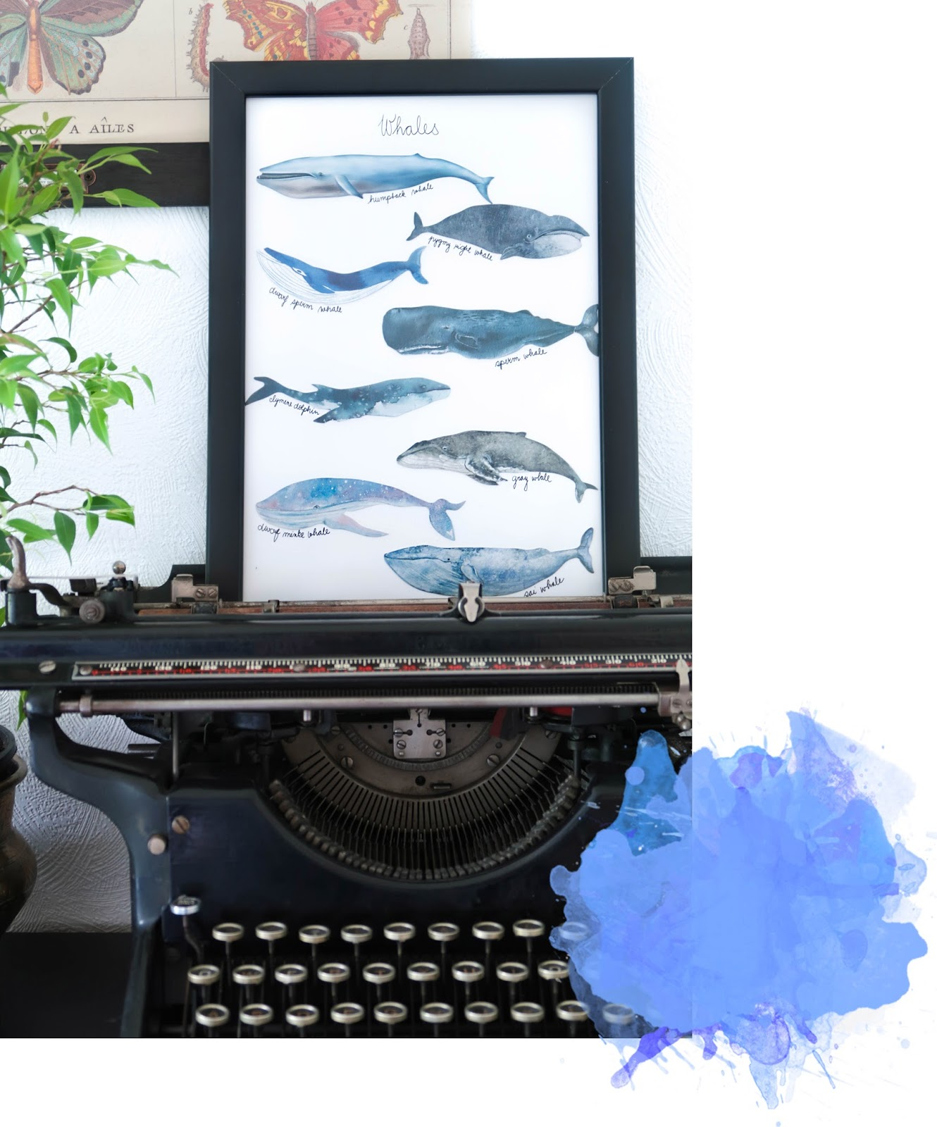 Easy whale art DIY from bookmarks