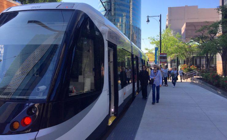 Riders bording streetcar