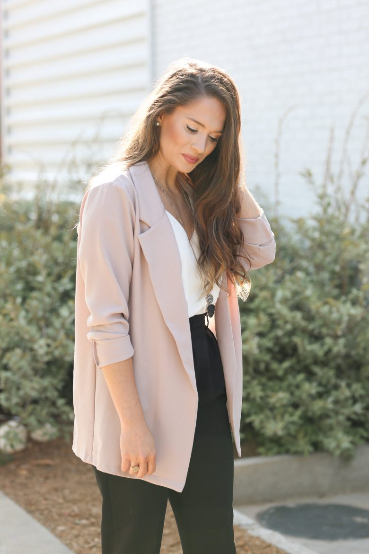 Blush Blazer Work Outfit