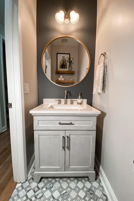 Grey Half Bath Renovation