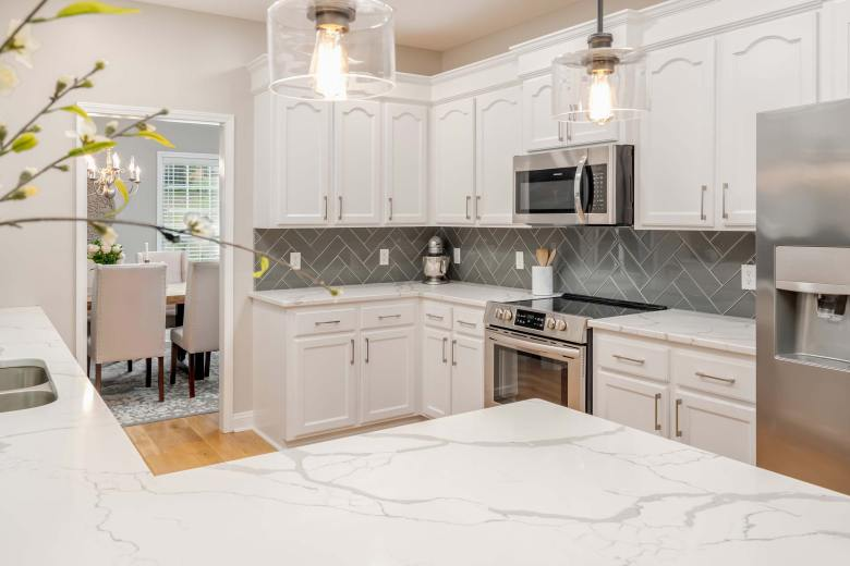 Kitchen remodel grey and white