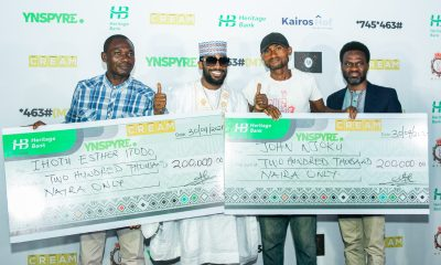 R-L: Fela Ibidapo, Divisional Head, Corporate Communications, Heritage Bank; winner of YNSPYRE draw, John Njoku; Dapo Oyebanjo (D'banj) and Ihotu Esther Etodo who was presented with the cheque of N200, 000 won in the March monthly draw, during the 2nd monthly draw of Heritage Bank's YNSPYRE product in collaboration with CREAM Platform, at the weekend in Lagos.