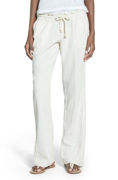 Roxy 'Oceanside' Drawstring Woven Linen Blend Pants Now $23.70 Orig $39.50