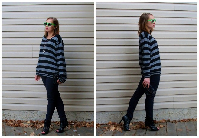 casual weekend fall outfit stripes