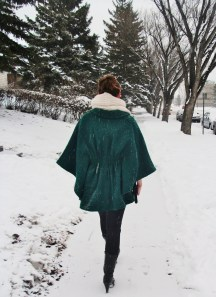 ruched waist cape by Steve Madden, Sock Bun and Infinity scarf