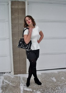 peplum, shorts, tights and wedges