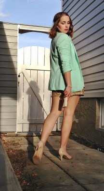 mint blazer gold shorts, nude heels