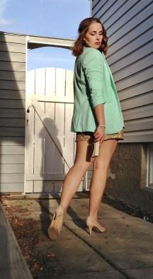 mint blazer gold shorts, nude heels
