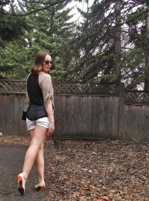 sheer back top with white shorts- DIY nude and neon heels