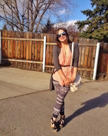 cross body bag, tribal print leggings and wedge sandles