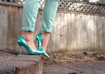 Metallic Teal Guess Stilettos, Cuffed AE mint skinny jeans