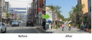 Hwaseomun Street, the main arterial shopping street once primarily for cars, was transformed into a street exclusively for pedestrians and ecomobile vehicles. © Suwon City Council.