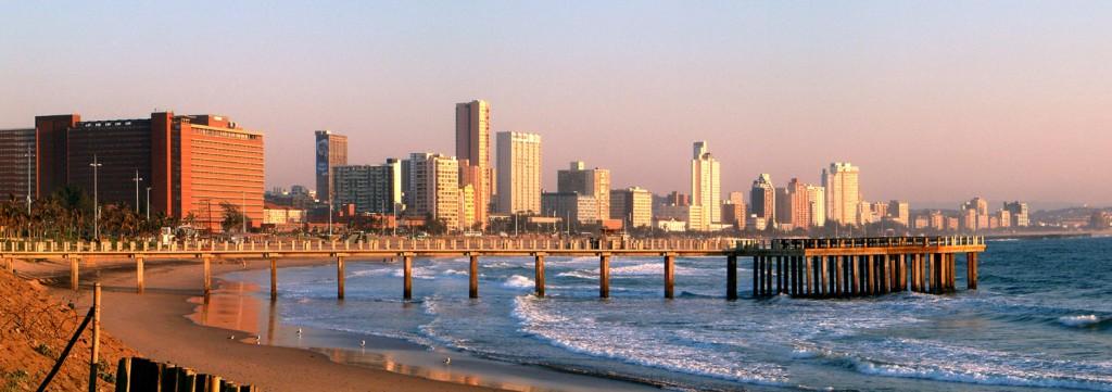 Durban beachfront skyline in the morning. Courtesy of PhilippN via Wikimedia.