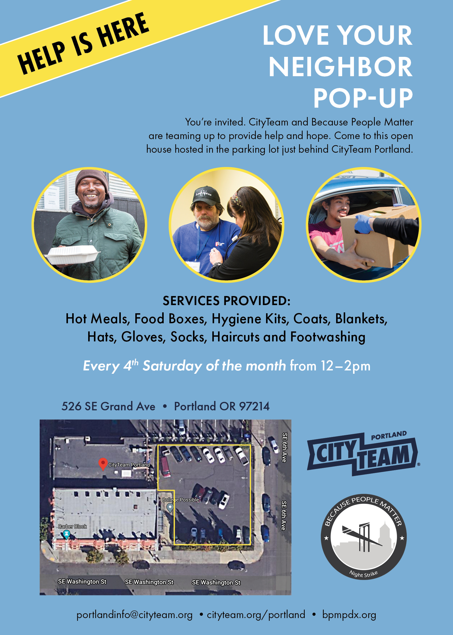 Love Your Neighbor Pop-Up flyer - every 4th Saturday
