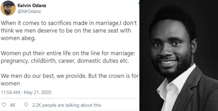 Nigerian man says women sacrifices the most in marriage