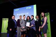 Branston Ltd representatives collect their award from guest speaker David Hyner, left, Elaine Lilley, chief executive of The EBP, second in from right, and Kayleigh Wells, The EBP's work experience co-ordinator, right. Photo: Chris Vaughan