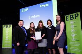 Lindum Group representatives collect their award from guest speaker David Hyner, left, Elaine Lilley, chief executive of The EBP, second in from right, and Kayleigh Wells, The EBP's work experience co-ordinator, right. Photo: Chris Vaughan