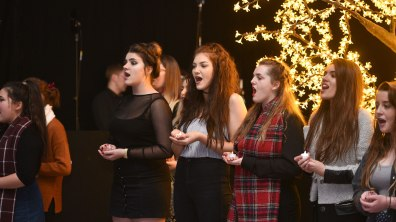 Lincoln College Performing Arts students opened the even with a rendition of Christmas songs. Photo: Steve Smailes for Lincolnshire Business