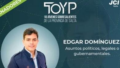 Photo of EDGAR DOMINGUEZ, ENTRE LOS 10 JÓVENES MAS DESTACADOS DE SALTA