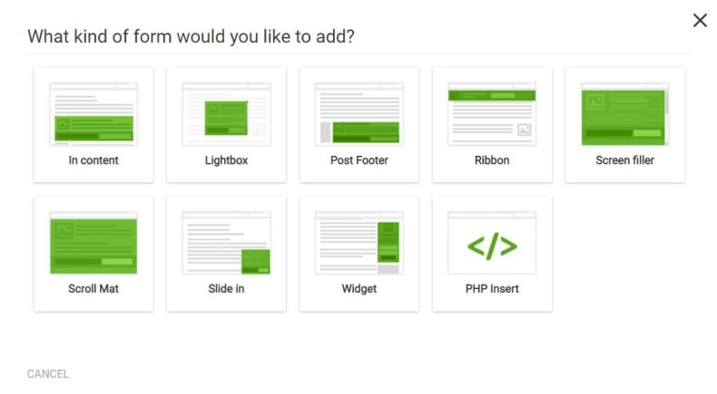 Tipos de formularios de suscripción