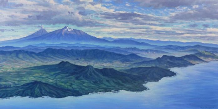 """""""Volcanes de Colima desde Chapala"""", Jorge Obregón"""
