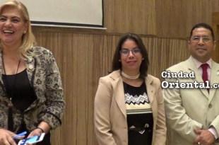 Desde la izquierda, Xiomara Alt. Taveras, Kenya Yokaira Cruz Castro y Freddy Santana