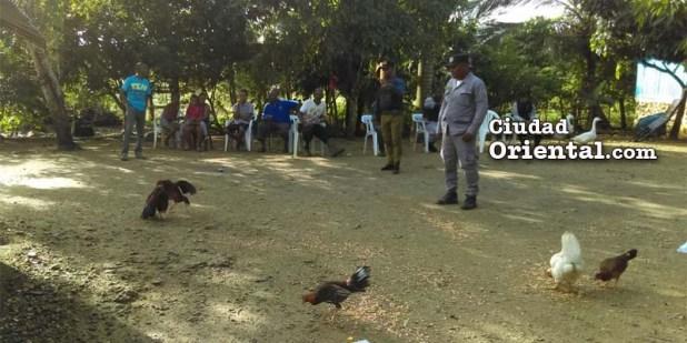 Gallos y policías en la finca de Monserrat