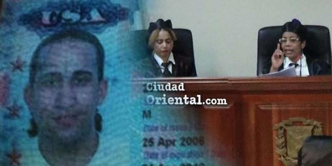 Frank Bruno Díaz, en foto de pasaporte y el tribunal.