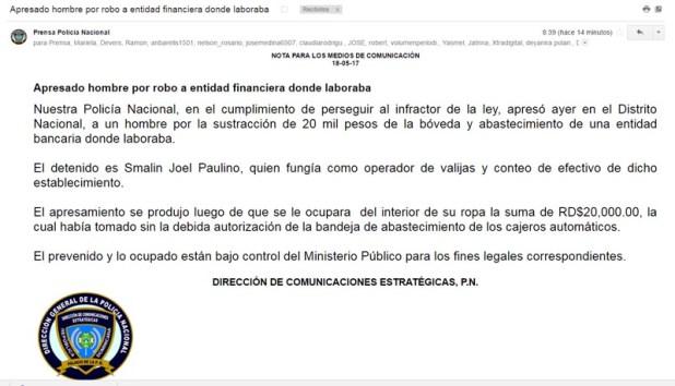 Con este email la PN dio a conocer el arresto de este hombre que habría robado 20 mil pesos.